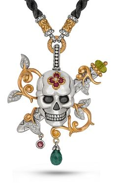 Special Order Only. Roses Never Die Skull and Dagger Necklace – Diamon – Barbara Bixby