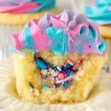 Unicorn Cupcakes are such a fun way to celebrate a birthday! Fill vanilla cupcakes with sprinkles and top with a swirled colorful frosting. Kids and adults will love this easy cupcake recipe! Easy Unicorn Cake, Unicorn Cupcakes, Unicorn Party, Diy Unicorn Birthday Cake, Kid Cupcakes, Vanilla Cupcakes, Cupcake Cakes, Birthday Cake Cupcakes, Lol Birthday Cake