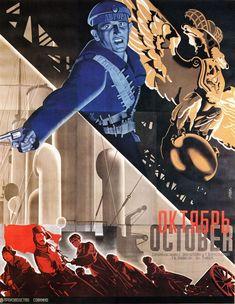 """MP146. """"October"""" Russian Movie Poster by Stenberg Brothers (Sergei M. Eisenstein 1927) / #Movieposter"""