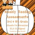 Thanksgiving Reading Assessments ELA CC Aligned {3rd and 4th Grade}