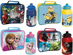 KIDS CHARACTER SCHOOL CHILDS INSULATED WIPE CLEAN LUNCH BOX BAG BOTTLE DISNEY  #Marvel