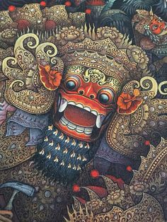 Items similar to Ubud Bali Painting Traditional Barong Dance Calonarang Topeng Balinese Art Acrylic on Canvas Original Hand Painted By Artist on Etsy Barong Bali, Ubud Bali, Balinese Tattoo, Bali Painting, Ancient Art Tattoo, Indonesian Art, Batik Art, Art Antique, Batik Pattern