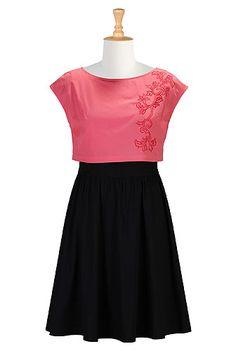 eShakti coral and black crop-topped cotton poplin dress