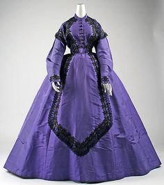 Visiting dress Date: 1863–65 Culture: American Medium: silk, cotton, glass Dimensions: Length at CB (a): 16 1/2 in. (41.9 cm) Length at CB (b): 43 1/2 in. (110.5 cm) Credit Line: Gift of Althea Adams May, 1977 Accession Number: 1977.204.2a, b