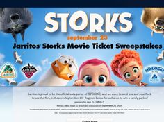 Enter The Jarritos Storks Movie Ticket Sweepstakes for a chance to win 1 of 50…