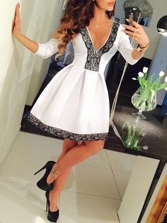 White Deep V-neck Lace Embellished Flare Dress