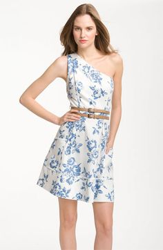 Adorable to wear to a spring/summer wedding! Jessica Simpson One Shoulder Print Cotton Dress | Nordstrom