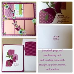 """Scrapbook page (inspired by Pam Callaghan and Cathy Dippolito of """"Ideas for Scrapbookers"""" blogspot) and card made with scraps from above papers.  All Stampin'up products"""