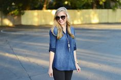 Bella Dahl top | Topshop jeans | Ellie Vail bracelet | Kendra Scott necklace | Prada sunglasses | Michael Kors watch | Converse  www.styelled.com