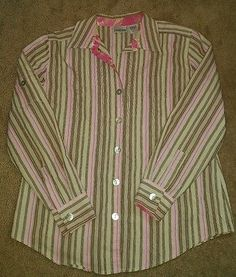 Women's Chicos button down crinkle shirt top size 1 pink brown tan
