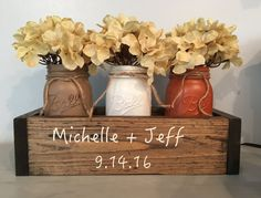 Great for weddings, parties and home decor. The wooden planter box measures 13.5 x 5 x3.5 and fits 3 pint size mason jars. The listing shows the box in a dark walnut, but you may choose a different stain choice.