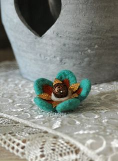 Needle felted flower brooch with antique by GreenDotCreationsGr