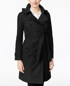 London Fog All-Weather Hooded Trench Coat - Black XXL