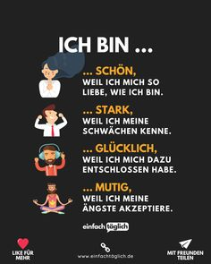 Inspirierender Text, Germany Language, Positive Self Affirmations, Life Guide, Never Stop Learning, Motivational Pictures, Love Yourself First, Life Advice, True Words