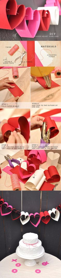 ideas for diy paper crafts decoration heart garland Valentine Decorations, Valentine Day Crafts, Paper Decorations, Holiday Crafts, Paper Heart Garland, Diy Garland, Garlands, Diy And Crafts, Crafts For Kids