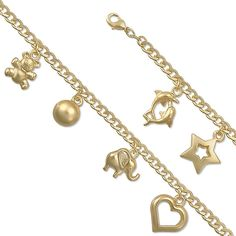 """7"""" Assorted Design 14K Yellow Gold Plated Charm Link Bracelet"""