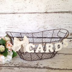 Rustic Wedding Card Box, Country Chic Wire Basket, Wooden Card Banner…