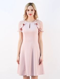 Women's Ruffle Keyhole Lace Sleeve Fit and Flare Dress. Elegant Dresses, Casual Dresses, Short Dresses, Dress Long, Frock Fashion, Fashion Dresses, Simple Girl Outfits, Dresses To Wear To A Wedding, Dress Wedding