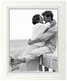 Malden International Designs Linear Rustic Wood Picture Frame 8x10 Rough White