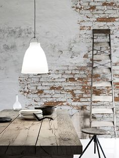 An exposed brick wall in a room doesn't always mean industrial. Moreover if we talk about the specific white brick wall, the style and design it suits will be way more than just one kind. The range is wide as . Design Industrial, Industrial Living, Industrial Style, Kitchen Industrial, Industrial Interiors, White Industrial, Vintage Industrial Decor, White Brick Walls, Exposed Brick Walls