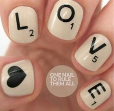 Scrabble nails cute! http://www.pinterest.com/ahaishopping/