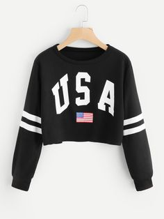 To find out about the Varsity-Striped Letter Print Sweatshirt at SHEIN, part of our latest Sweatshirts ready to shop online today! Teen Fashion Outfits, Kids Outfits Girls, Teenager Outfits, Trendy Outfits, Girl Outfits, Fashion Dresses, Women's Fashion, Cute Sweatshirts, Printed Sweatshirts