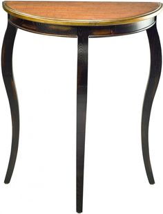 Black and Brown Half Round Side Table