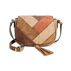 Women's Faux Leather Saddle Handbag Dark Tan- Merona, Size: , Brown... (47 BAM) ❤ liked on Polyvore featuring bags, handbags, shoulder bags, brown patchwork and merona