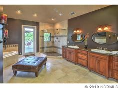 Gorgeous modern bathroom with double sink, walk-in shower and bathtub. Double Sink Bathroom, Modern Bathroom, Pine Bluff, Ormond Beach, Bathroom Goals, Walk In Shower, Types Of Houses, Kitchen Island, Home And Family