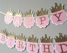 ¡VENTA! Rosa y oro primer Banner de cumpleaños. Banner de cumpleaños de princesa. Princesa cumpleaños decoración del partido