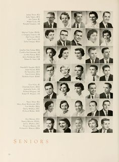 "Athena yearbook, 1956. ""Seniors."" The 6th row of photos includes Carl Walker who is mentioned in the Post article about a new book of memories of Black alumni from the 1950s (http://thepost.ohiou.edu/content/segregated-past). :: Ohio University Archives"