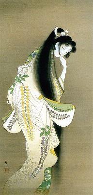 "Uemera Shoen - ""Flames,"" 1918. Style: Nihonga Genre: bijinga"