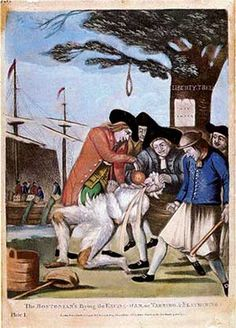 Philip Dawe (attributed), The Bostonians Paying the Excise-man, or Tarring and Feathering (1774) - 02 - Public humiliation - Wikipedia, the free encyclopedia