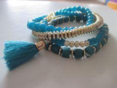 Bracelets – set of 4, tassel and boho style TURQUOISE **NEW – UK Seller – Boho