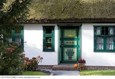 Typical house with typical front door Village born Fischland Mecklenburg-Western-Pomerania Germany