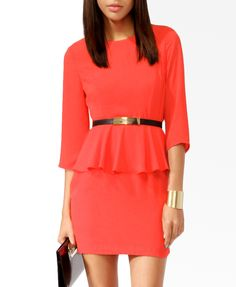 Peplum 3/4 Sleeve Dress | FOREVER21 - 2025100524