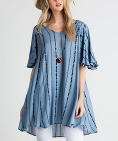 This Blue Stripe Back-Cutout Tunic is perfect! #zulilyfinds
