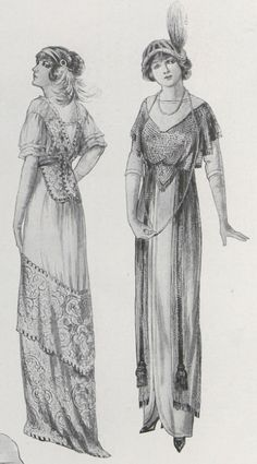 Another pinner wrote: 1912 - Titanic fashions  Mom loved fashion artwork. But she would've made these ladies much prettier! ;)