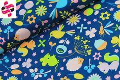 Diertjes - blauw - Riley Blake, Stoffenstraat.com