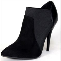 NEW!!! Black Booties Black suede & stretch booties. Slip on. Pointed toe. Heel. Perfect for winter! Shoes Ankle Boots & Booties