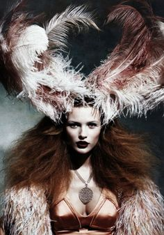 opulent white and brown feathered headpiece