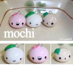 Kawaii japanese mochi polymer charm - food polymer clay phone charm on Etsy, $5.00