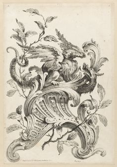 """Print, """"Winged Dragon on Bracket , from Premiere Partie Diverse Ornemens"""", 1745"""