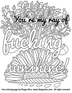 Swear Words Free Printable Adult Coloring Pages Sketch Page