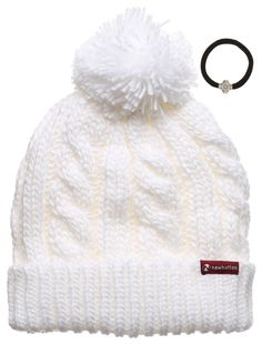4279ebf4450 Women s Thick Oversized Cable Knitted Fleece Lined Pom Pom Beanie Hat with  Hair Tie. (