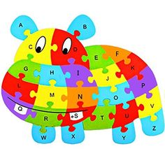 Skyblue-uk Kids Jigsaw Wooden Puzzle Letter Alphabet Hippo A To Z…