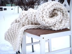 Chunky Knit Blanket Hand Knit Giant SuperChunkY by Amberzhanno