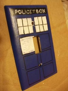 #DoctorWho TARDIS Blue Police Box DIY Hand Painted Light Switch Cover --- Another perfect addition for a future #DoctorWho themed bathroom! Love this idea!