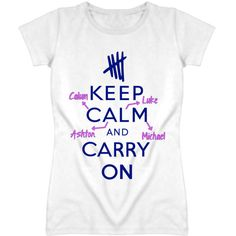 Keep Calm And Carry On 5 SOS Parody T Shirt ($15) ❤ liked on Polyvore featuring tops, t-shirts, shirts, 5sos, 5sos merch, shirts & tops, cotton tee, summer tees, cotton t shirt and summer t shirts