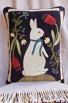 Taking Time To Smell The Flowers applique pillow by Norma Whaley